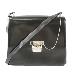 Auth Gucci Shoulder Bag Black Silver