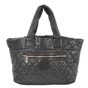 Auth Chanel Coco Cocoon Handbag Silver Nylon Black