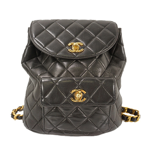 Auth Chanel Rucksack Matelasse Lump skin Black Gold