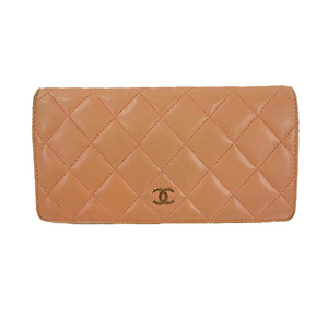 Auth Chanel Long Wallet Matelasse Lump skin Pink Gold