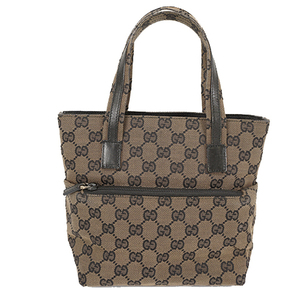 Auth Gucci Handbag,Tote Bag GG Canvas 002-1079 Black,Beige