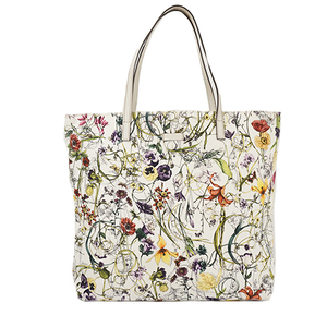 Auth Gucci Totebag Flora 295252 Canvas White Multi-color