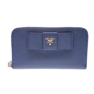プラダ(Prada) Saffiano Round Fastener wallet Saffiano 財布 ブルー