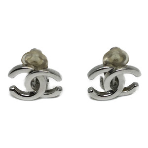 Auth Chanel Coco Mark A1251 X01060 Silver Clip Earrings Silver