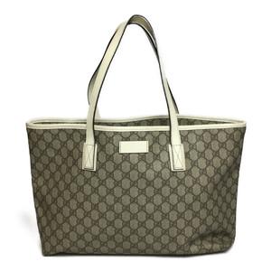 fe03f75b7917 Auth Gucci 211137 GG PVC Tote Bag Beige,White