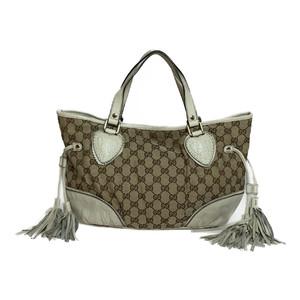 グッチ(Gucci) GGキャンバス 211955 タッセル付き ハンドバッグ ベージュ アイボリー