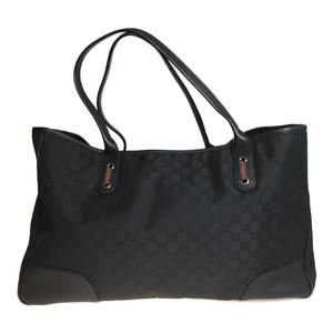 a14a6453deb2 Auth Gucci 293589 Tote Bag Leather GG Nylon Black Sherry line