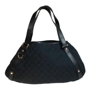dd97a6be1d42 Auth Gucci GG Canvas 130736 Leather Canvas Handbag Tote Bag Black