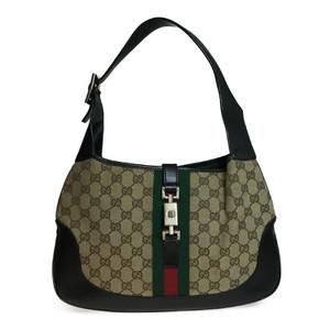 【中古】 グッチ(Gucci) ジャッキー 001 3306 ハンドバッグ GGキャンバス ダークブラウン シェリーライン