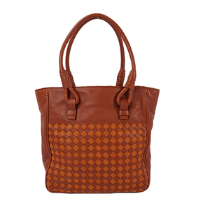 Auth Bottega Veneta Hand bag Intrecciato Brown Blue
