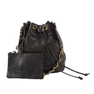 Auth Chanel Shoulder Bag Leather Black Gold