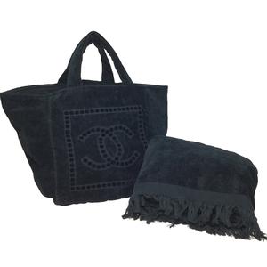 【中古】 シャネル(Chanel) ビーチバッグ コットン トートバッグ ブラック