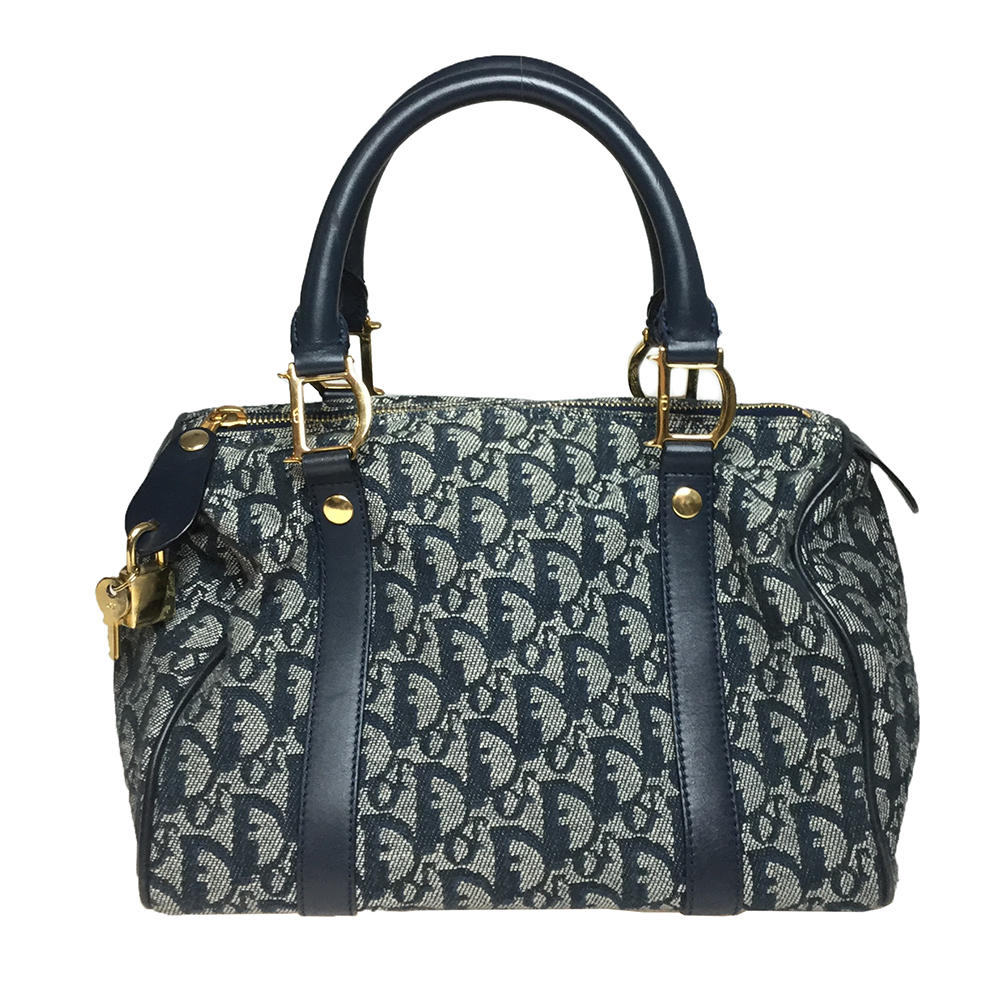Auth Christian Dior Trotter Handbag Mini Boston Navy