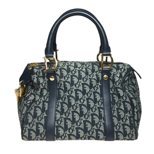 Auth Christian Dior Trotter Handbag Mini Boston Navy