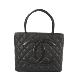 Auth Chanel Handbag  Medalion Tote Caviar Leather Black Silver