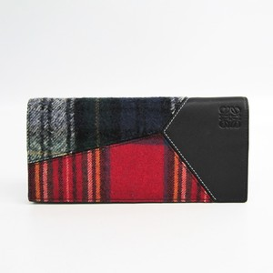 Loewe Puzzle Tartan Women's Leather,Wool Long Wallet (bi-fold) Multi-color