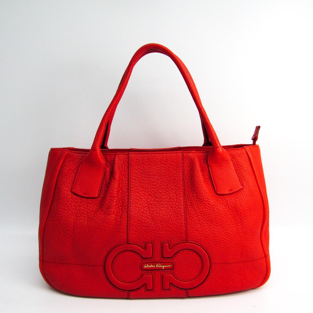 283ccadbdaef Details about Salvatore Ferragamo Gancini 21 D684 Women s Leather Tote Bag  Orange Red BF336705