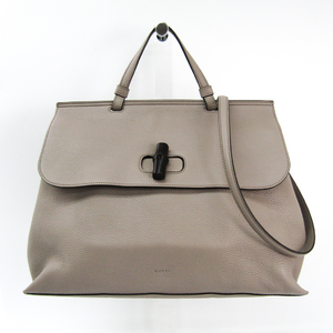 Gucci Bamboo Daily 370830 Bamboo,Leather Handbag Gray Beige