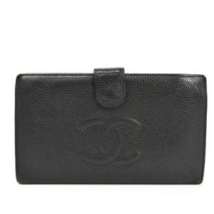 シャネル(Chanel) キャビアスキン 長財布(二つ折り) ブラック