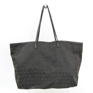 Fendi Zucchino 8BH104 Women's Canvas,Leather Tote Bag Brown,Black