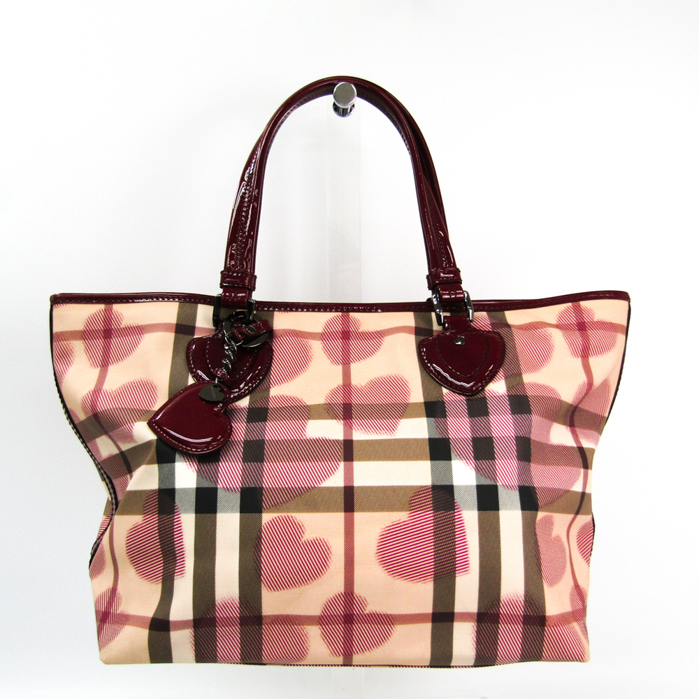 Burberry Women's PVC,Patent Leather Tote Bag Beige,Bordeaux