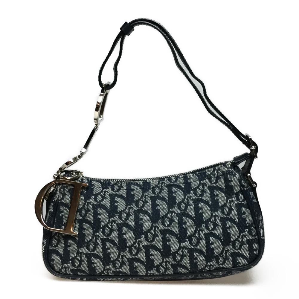 Auth Christian Dior Trotter Handbags Shoulder Bag Canvas Leather Navy