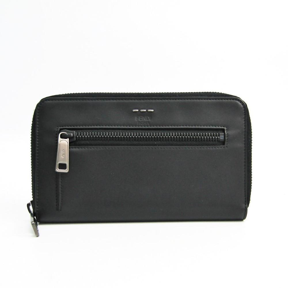 フェンディ(Fendi) 7M0235 ユニセックス レザー 長財布(二つ折り) ブラック