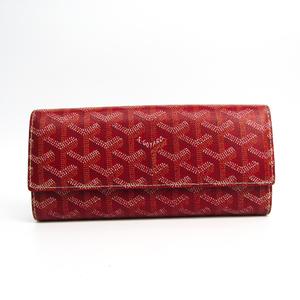 ゴヤール(Goyard) ヴァレンヌ ユニセックス レザー,キャンバス 長財布(二つ折り) レッド