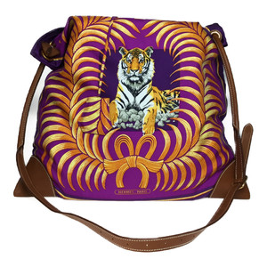 Auth Hermes Silky City MM TIGER ROYAL □L Engraved Silk Shoulder Bag,Tote Bag Purple