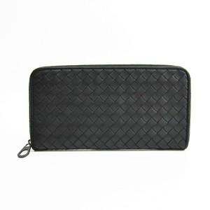 Bottega Veneta Intrecciato 114076 Leather Long Wallet (bi-fold) Black