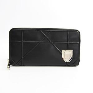 Christian Dior DIORAMA Women's  Lambskin Long Wallet (bi-fold) Black