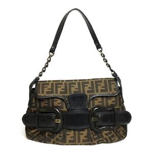 Auth Fendi Shoulder Bag Zukka Canvas Leather Brown
