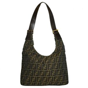 Auth Fendi ZUKKA Handbag,Shoulder Bag Brown
