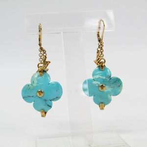Louis Vuitton Turquoise Silver 925 Drop Earrings Gold,Light Blue
