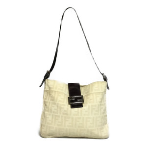 Auth Fendi Zucca Mamma Bucket Shoulder bag Canvas Leather Beige,Brown
