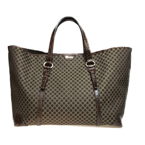 Auth Celine PP-ST-0087 Macadam Tote Bag Canvas Leather Brown