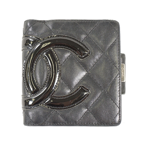 Auth Chanel Wallet Cambon Leather Black Silver