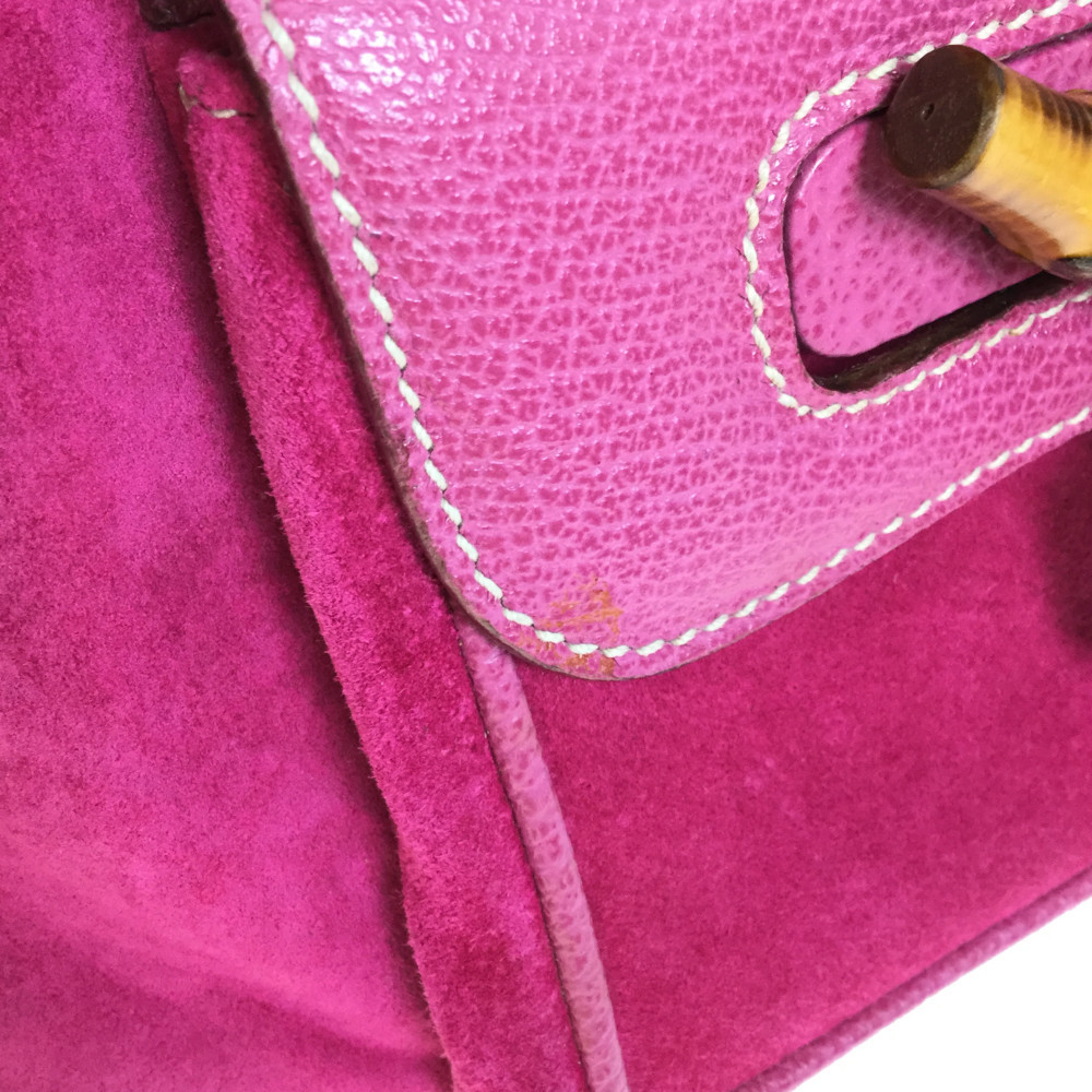 e6526ce4690 Auth Gucci Bamboo 003 1705 0030 Suede Mini Backpack Pink