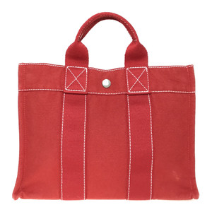 Auth Hermes Deauville PM Canvas Tote Bag Red