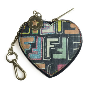 Auth Fendi 8M0247 ZUKKA Heart  Coin Purse/coin Case Multi-color Black