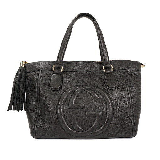 d4922d98b8f Auth Gucci Handbag Soho Leather Black