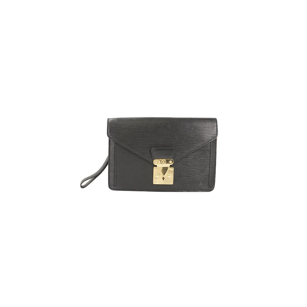 f301edf1111e Auth Louis Vuitton Second bag Epi Sellier Dragonne M52612 Noir