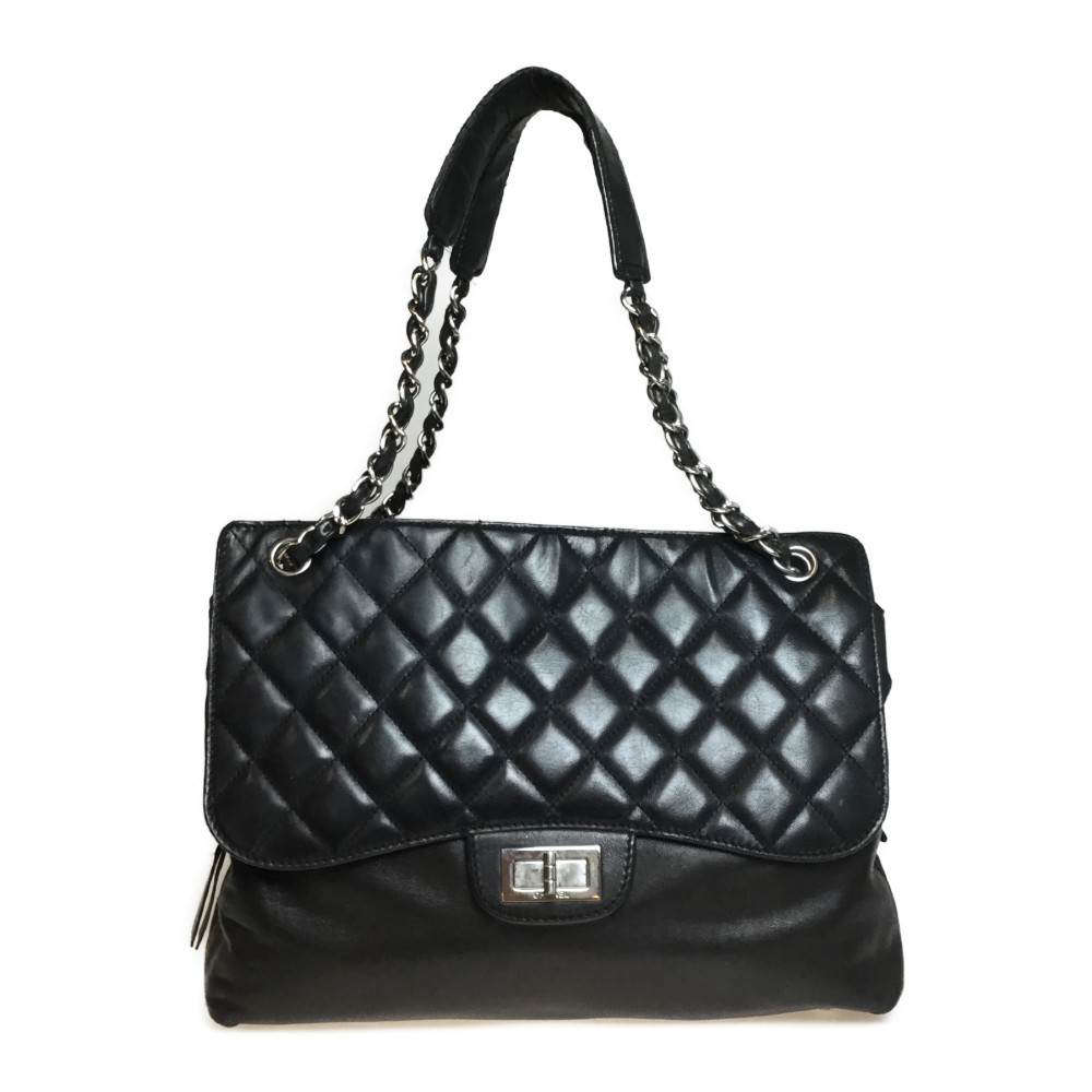 Auth Chanel Matelasse Shoulder Bag Tote Bag Leather Bag Black