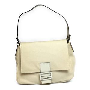 Auth Fendi MAMMA BAGUETTE Women's Leather Shoulder Bag Handbag White