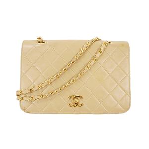 Auth Chanel Matelasse Chain Shoulder Bag Gold Lambskin Beige