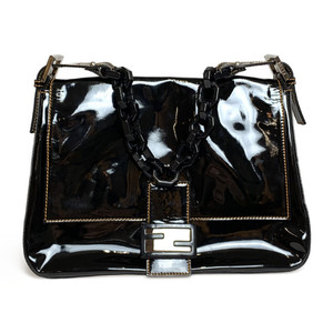 Auth Fendi MAMMA Chain Handbag Shoulder bag Patent Suede Black