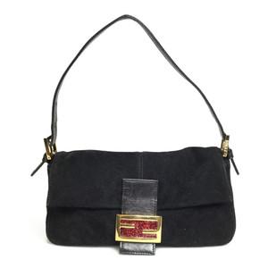Auth Fendi Mamma Bucket Suede Leather Handbag Black Red