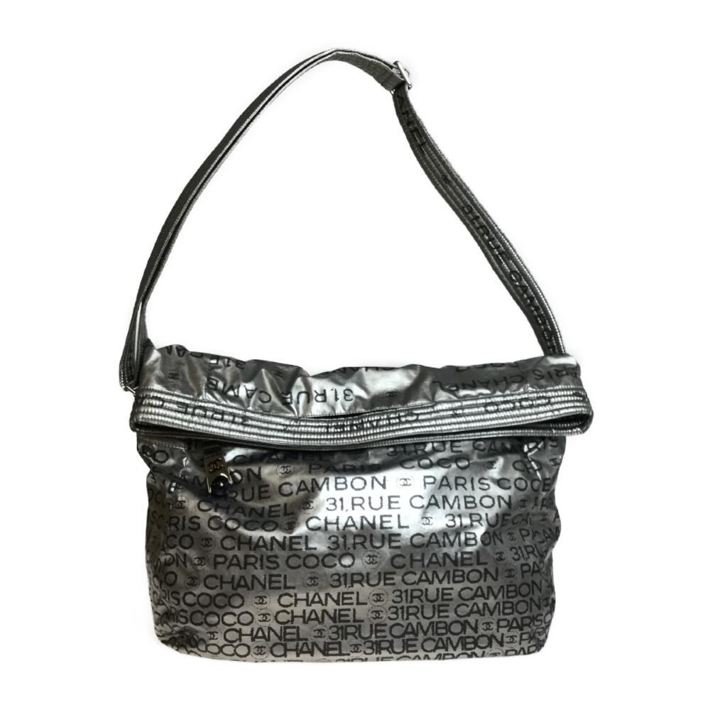 Auth Chanel Unlimited A46534 2WAY Nylon Handbag,Shoulder Bag Silver,Black