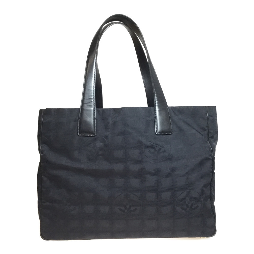 Auth Chanel New Travel Line A15991 MM Handbag,Tote Bag Black