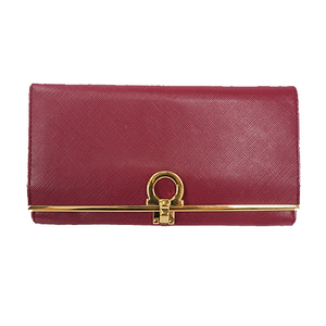 Auth Salvatore Ferragamo Long Wallet( Bi-fold)  Gancini Leather Purple